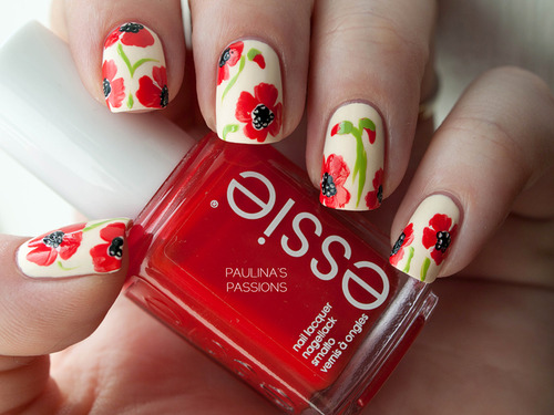Red-Color-Vintage-Floral-Nails-Design